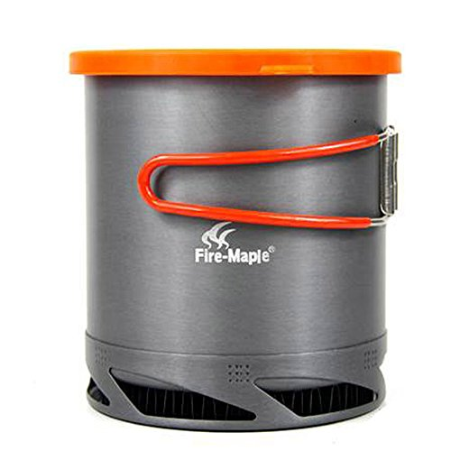 (Tentock Outdoor Portable Heat Collecting Exchanger Pot 1L Anodized Aluminum Camping Cookware with Mesh)
