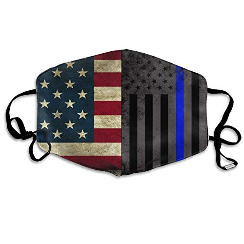 GHDfgFD American Thin Blue Line Flag Mask Dust Mask Anti Pollution Mask PM2.5 4 Layer Activated Carbon Filter Insert Can Be Washed Reusable Pollen Masks Cotton Mouth Mask for Men ()