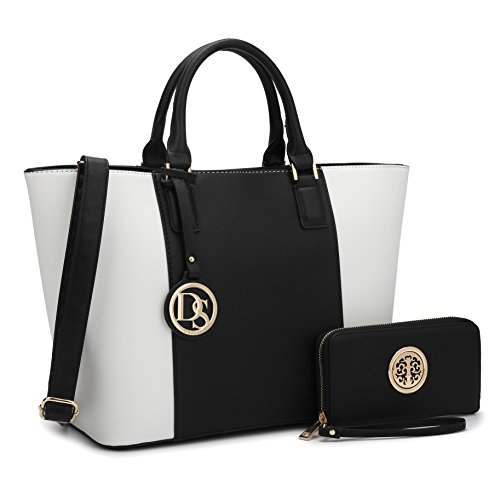 Tote Black Dasein Large Handle Matching Wallet Top Designer White Bag Satchel Laptop Women's Shoulder Bag Handbag Purse 6417 Structured wZq4wg0