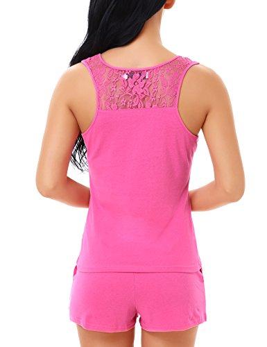 Yulee mujer Conjunto de pijama de algod¨®n Tank Top y pantalones cortos Rose Red