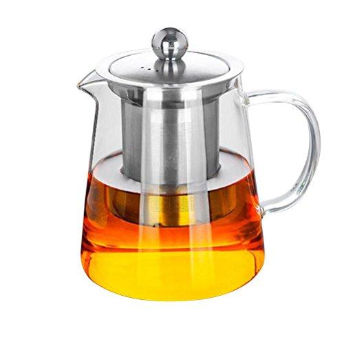 Bekith Premium Borosilicate Glass Teapot Kettle - Tea Pot and Tea Strainer Set, 900 Ml