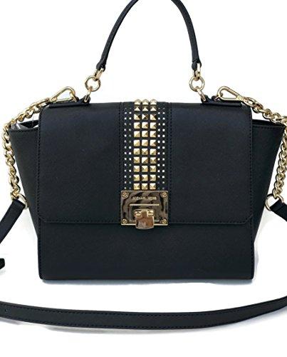 Michael Kors Tina Medium Studded Leather Chain Satchel Crossbody Bag Purse Black
