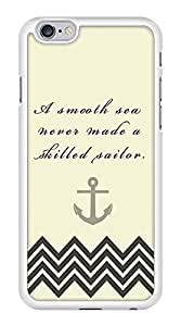 Smooth Sea Skillful Sailor Anchor Chevron Zig Zag Snap-On Cover Hard Plastic Case for iPhone 6 (White)