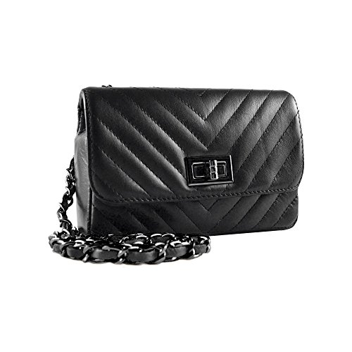 quilted chevron chain leather Black Dark quilted Small purse clutch Nickel SINDY metal cross body soft and leather shoulder Italian smooth 6KqK4vwZO