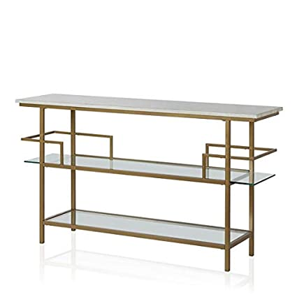 Amazon Com Metal Console Table With Faux Marble Top And Glass