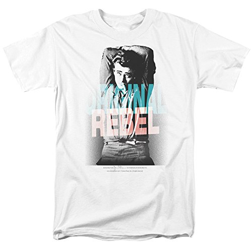 Trevco Men's James Dean Short Sleeve T-Shirt, Rebel White, Small