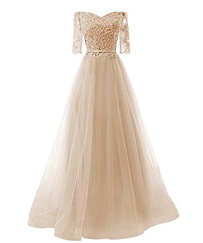 Prinzessin A Abendkleid Schnuerung Party linie Kleid Brautjungfer Langes Cocktail Vickyben Damen Tuell Champagne2 Ballkleid fXw5qSR