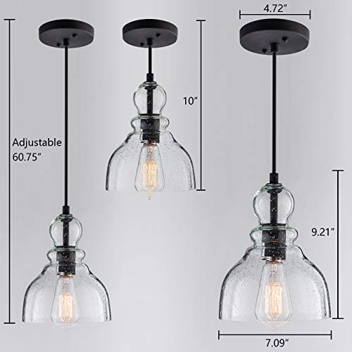 Lanros Industrial Mini Pendant Lighting with Handblown Clear Seeded Glass Shade, Adjustable Edison Farmhouse Kitchen Lamp for Kitchen Island, Restaurants, Hotels and Shops, 1-Pack by LANROS (Image #5)