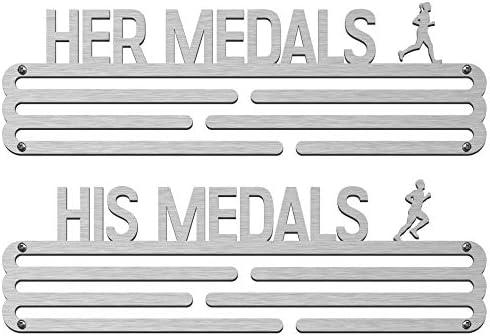 メダルハンガーバンドル (2個パック): 彼女のメダルと彼のメダルステンレススチールメダルホルダー