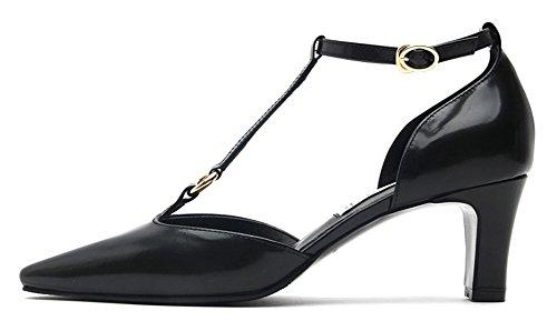Karen White Womens Black Cut Out Mid Heels Pumps In Vera Pelle Con Cinturino Alla Caviglia Nero
