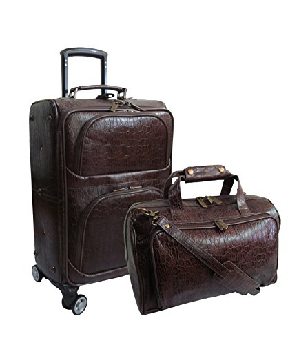 5 Piece Leather Luggage Set - Amerileather Dark Brown Leather Rock-Print Two Piece Set on Spinner Wheels (#8602-5)