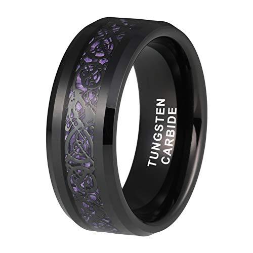 OnlyLove Jewelry 8mm Mens Black Tungsten Carbide Rings Womens Wedding Bands Black Dragon Purple Carbon Fiber Inlay