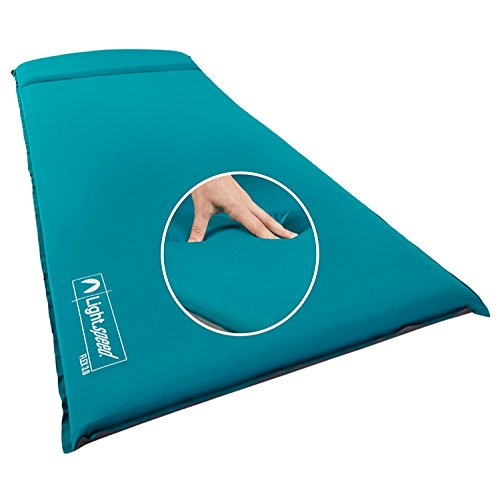 """Lightspeed Outdoors XL Super Plush FlexForm Premium Self-Inflating Sleep and Camp Pad 1 Open size: 77"""" x 30"""" x 3"""" Rolled size: 30"""" x 7.75"""" Weight: 6.0 lbs Maximum R-Value of 9.66 keeps you exceptionally warm; Lightspeed's special non slip stretch material hugs your body, while the 3"""" thick no bottoming out soft foam offers insulation and support. Non-PVC materials eliminates plastic odors and plastic crinkle noises for a more peaceful night sleep Dual oversize air valves for quick self inflating and deflating without the need for a pump"""