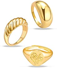 3Pcs Chunky Gold Rings Set for Women Thick Dome Rings 18K Gold Plated Croissant Braided Twisted Stacking Round