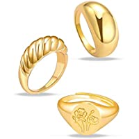 MOROTOLE 3Pcs Chunky Gold Rings Set for Women Thick Dome Rings 18K Gold Plated Croissant Braided Twisted Stacking Round…