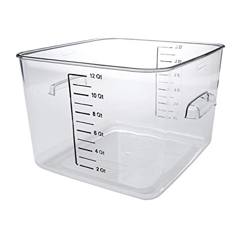 (Rubbermaid Commercial Products Plastic Space Saving Square Food Storage Container for Kitchen/Sous Vide/Food Prep, 12 Quart, Clear (FG631200CLR) (Renewed))