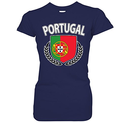 Hockey Wreath (Portugal Flag Crest Olive Wreath Laurel Juniors T-Shirt (Medium Navy))