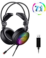 ELEGIANT PC Gaming Headset 7.1 Surround Gaming kopfhörer Buntes LED Licht mit Rauschunterdrückung Mikrofon Professional USB Headphones für Laptop, Mac, Tablet usw