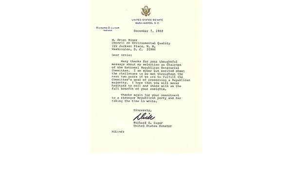 Amazon com: Richard G  Lugar - Typed Letter Signed 12/07/1982