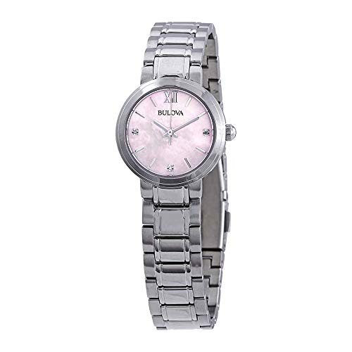 (Bulova Women's 96P165 Stainless Steel and Diamond Watch with a Pink Mother of Pearl Dial)
