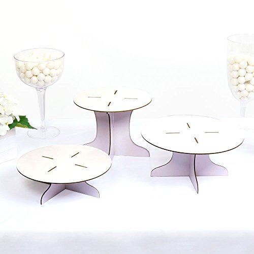 Three Piece Dessert Stand Set - Party DIY Round Display (Cardboard Cupcake Stand)