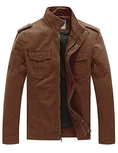 WenVen Men's Casual Cotton Military Jacket(Coffee,M) ()