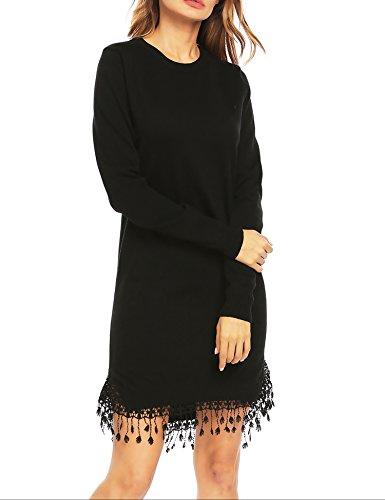 Fringe Hem Dress - Zeagoo Women's Crewneck Long Sleeve Loose Fit Pullover Knit Sweater Dress with Lace Tassel Hem (Black-2,Small)