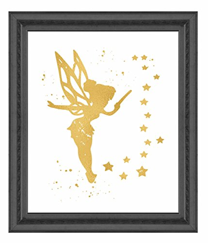 Simply Remarkable Gold Print Inspired by Tinkerbell and Peter Pan - Gold Poster Print Photo Quality - Made in USA - Home Art Print -Frame not Included (8x10, Tinkerbell Stars)