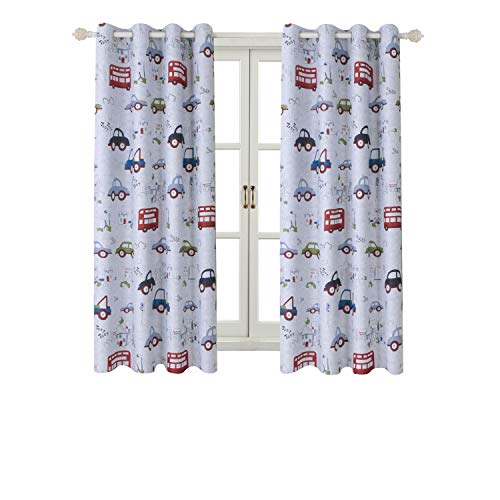 "BGment Room Darkening Kids Curtains for Bedroom –Cartoon Car Printed Window Drapes, Metal Grommets Top, 52"" Wx63 L Each Panel, 2 Panels"
