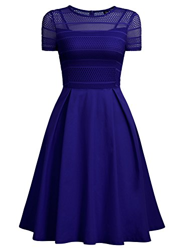 MissMay Women's Vintage Lace Striped Contrast Short Sleeve Pleated Swing Dress (X-Large, Blue)
