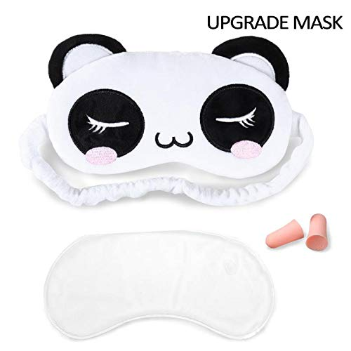 Gel Eye Mask for Sleeping Blindfold with Double Layer Silk Filling and Elastic Strap for Men Women Kids Full Night's Sleep, Travel and Nap, Reusable Ice Pack for Hot and Cold Therapy(Panda)
