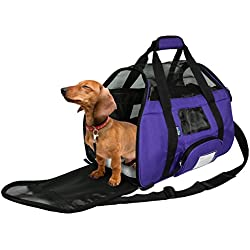 KritterWorld Soft Sided Pet Carrier Travel Bag for Small Dogs and Cats Small Animals Airline Approved with Removable Sherpa Lining Bed and Lost & Found Tag Purple