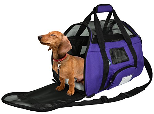 KritterWorld Soft Sided Pet Travel Carrier for Small Dogs and Cats Puppy Small Animals Airline Approved | Removable Sherpa Lining Bed, Built-in Collar Buckle, Lost & Found Tag Included by Purple Review