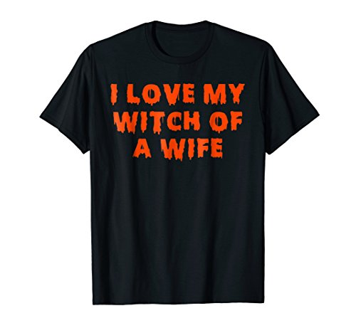 Mens Halloween Couples Costumes | I Love My Witch of a Wife Large Black