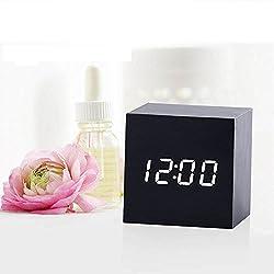 Transer Modern Wooden Wood Digital LED Desk Alarm Clock Thermometer Timer Calendar (A)