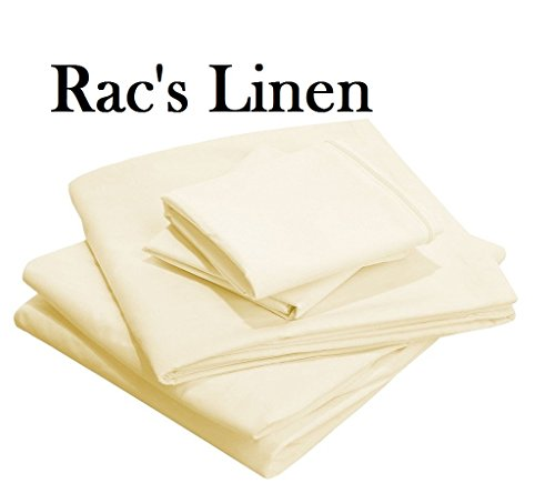 '' Rac's Brand '' 1000 - Thread - Count 100% Egyptian Cotton Sheets Ivory Color { King Size } 4-Pieces Sheet Set, Depth Pocket 24'' Inches, Creative Fabric Solid !! PATTERNED !! by Rac's Linen