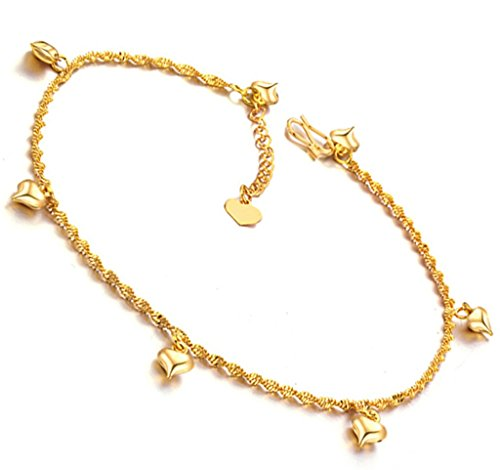 Aienid 18k Gold Plated Heart Anklet Bracelet Italian Foot Chain For Women Summer Sandal (Gold Sandal Italian Charm)