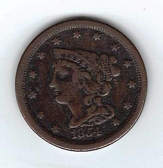 1854 Braided Hair Half Cent