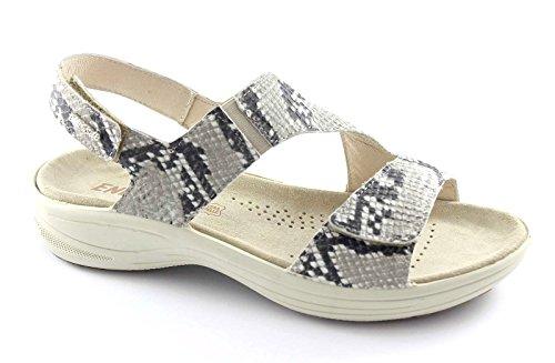 ENVAL sandalias gris suave de la correa de la hebilla de las mujeres, 59570 piel de pitón Grigio