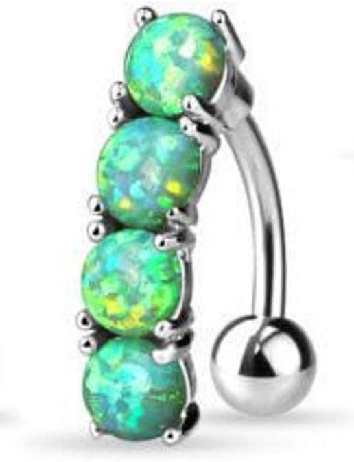 Green Reverse 4 Opal Stone Belly Ring Pierced Navel Naval