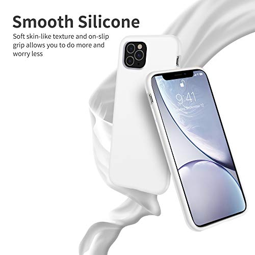 OTOFLY iPhone 11 Pro Max Case,Ultra Slim Fit iPhone Case Liquid Silicone Gel Cover with Full Body Protection Anti-Scratch Shockproof Case Compatible with iPhone 11 Pro Max (White)