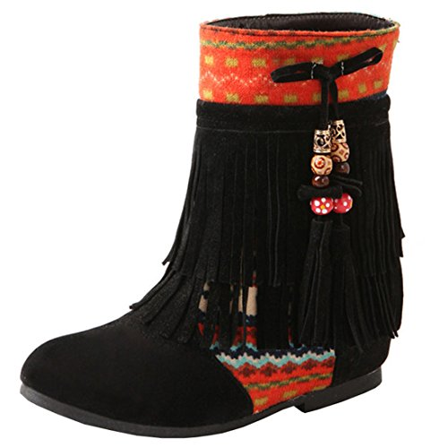 Artfaerie Women's Fringe Embroidery Wedges Heel Lace up Ankle Boots Nubuck Leather Classic Retro Shoes Black