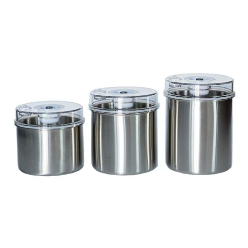 Vacuum Food Storage Canisters 3-Piece Set Stainless Container Bottoms, Clear See-Thru Lid with Vacuum Indicator and Universal Hose Attachment Keeps Food Fresh Coffee, Pasta, Fruit, Marinade Avid Armor