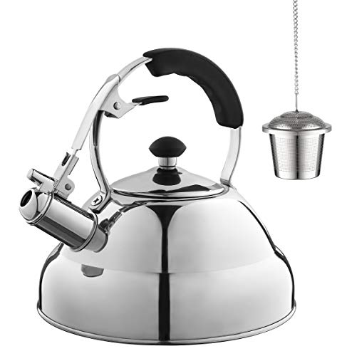 (Eurolux Tea Kettle - Teapot with Capsule Bottom and Mirror Finish, 2.75 Quart Tea Pot - Stove Top Tea Maker Infuser Teapots Strainer Included)