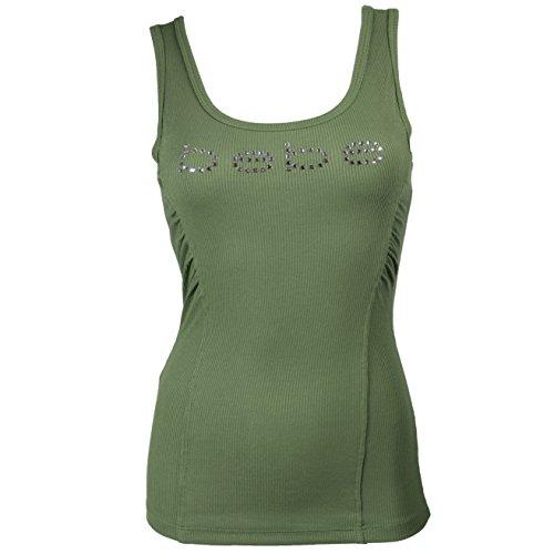 bebe-logo-tank-tee-top-t-shirt-ribbed-swarovski-crystals-usa-269731-l-army-green-vge