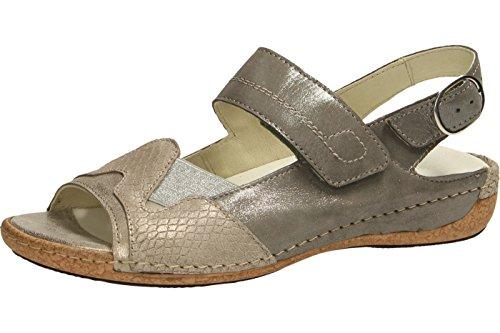 Waldläufer 342014-301-632 - Sandalias de vestir de Piel para mujer gris gris Beige (Lightgold corda pietra)