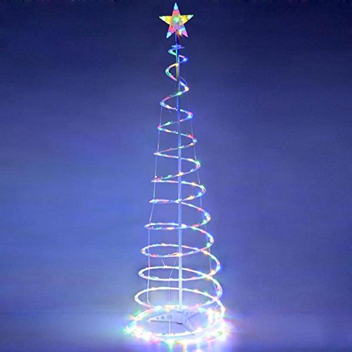 AMPERSAND SHOPS Outdoor Spiral LED Christmas Tree Light Décor 5-Ft Tall (Multi-Color) Christmas Decor Shop