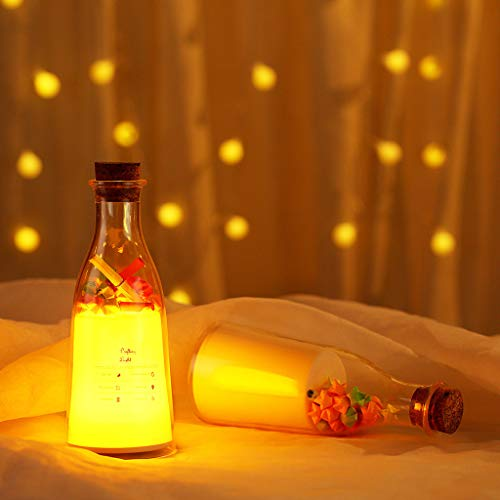 Nesee Milk Bottle Sleep Light, Drift Bottle Night Light with Sleeping Message Warm White Bedroom Milk Bottle Lamp for -