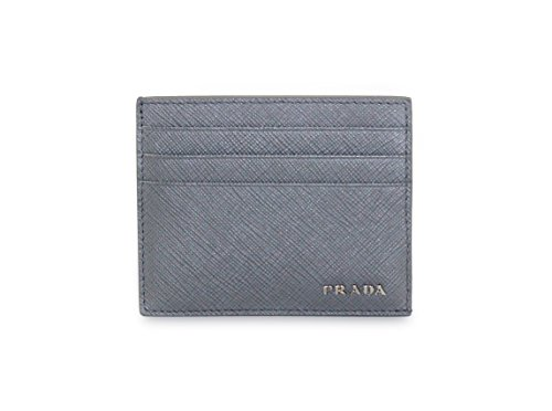Prada Lux Saffiano Bicolor Card Case, Gray/blue (Marmo/Azzurro) 2MC223