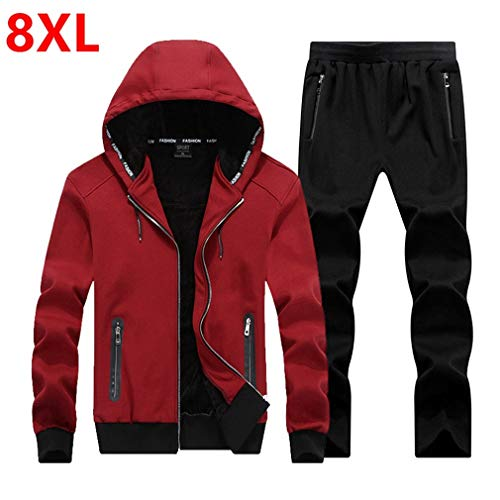 (Winter Large Size Sweater Suit Hooded Fleece Yards Male Adolescent Set Red Wine 5XL)